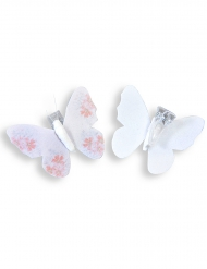 4 mollette decorative con farfalla bianca e rosa