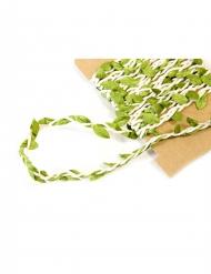 Nastro avorio con foglie verdi