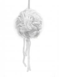 Sospensione sfera di petali di rosa con nastro bianco 16 cm