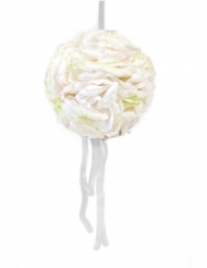Sospensione sfera di petali di rosa con nastro avorio 16 cm