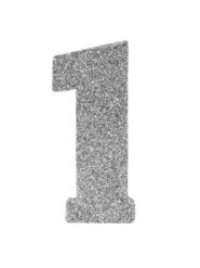 Centrotavola argentato con brillantini numero 1
