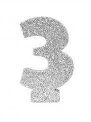 Centrotavola argentato con brillantini numero 3
