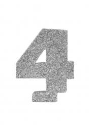 Centrotavola argentato con brillantini numero 4