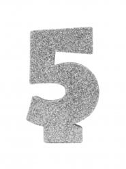 Centrotavola argentato con brillantini numero 5