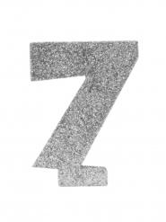 Centrotavola argentato con brillantini numero 7