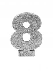 Centrotavola argentato con brillantini numero 8