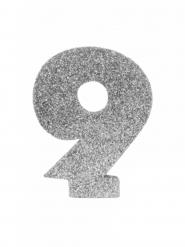 Centrotavola argentato con brillantini numero 9