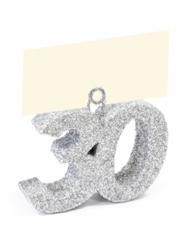 Segnaposto con brillantini argento numero 30