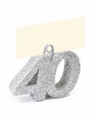 Segnaposto con brillantini argento numero 40