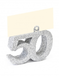Segnaposto con brillantini argento numero 50