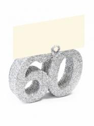 Segnaposto con brillantini argento numero 60