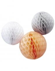 3 sfere in carta alveolata bianca, grigia e pesca