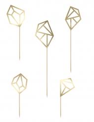 5 decorazioni per dolci a forma di diamanti oro