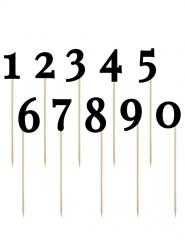 10 Decorazioni per torta Numeri neri su bastoncino 26 cm