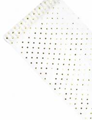 Runner da tavola in organza bianco con pois oro