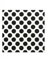 20 tovaglioli di carta bianchi con pois neri