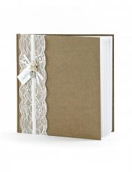 Libro per firme color kraft con pizzo bianco
