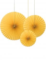 3 rosoni decorativi gialli da appendere