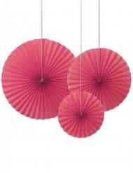 3 rosoni decorativi color fucsia