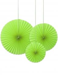 3 rosoni decorativi in carta verde