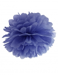 Pompom in carta da appendere blu 25 cm