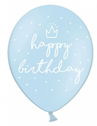 6 palloncini celesti Happy Birthday