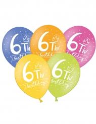 6 palloncini colorati My 6th birthday
