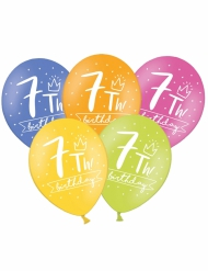 6 palloncini colorati My 7th birthday
