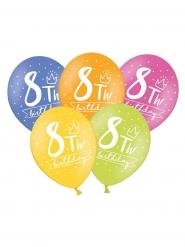 6 palloncini colorati My 8th birthday