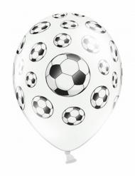 6 palloncini bianchi con palloni da calcio
