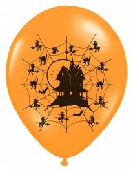 6 palloncini arancioni in lattice casa stregata