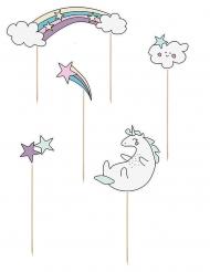 5 decorazioni per torta unicorno e arcobaleno