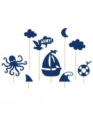 9 decorazioni per dolci blu tema marino