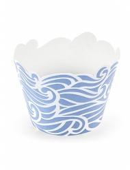 6 pirottini per cupcakes blu effetto onde