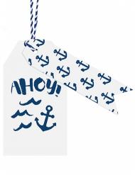12 etichette bianche e blu tema marino