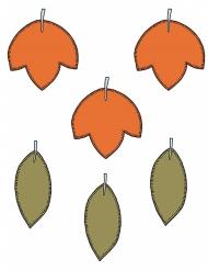 6 decorazioni di carta foglie autunnali