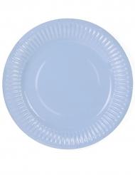 6 piattini celesti in cartone 18 cm