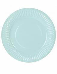 6 piattini color verde acqua in cartone 18 cm