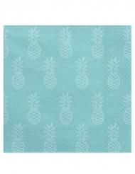 20 tovaglioli di carta turchesi con ananas