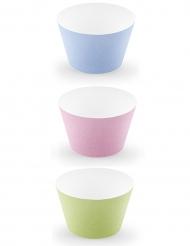 6 pirottini per cupcakes in cartone color pastello