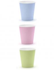 6 bicchieri in cartone color pastello