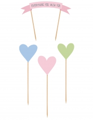 4 decorazioni per dolci Everything you wish e cuori pastello