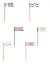 6 bandierine rosa cipria beige e bianche
