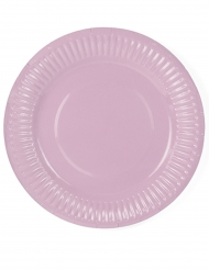 6 piattini in cartone rosa cipria 18 cm