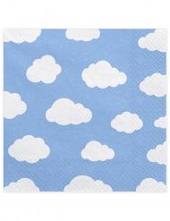 20 tovaglioli di carta blu con nuvolette