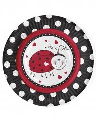 6 piattini in cartone con coccinella 18 cm