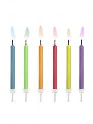 6 candeline multicolor con fiamma colorata