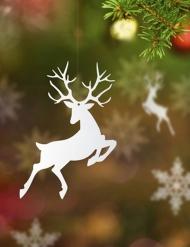 10 sospensioni di carta renne di Natale bianche