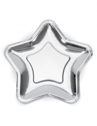 6 piattini in cartone stella argento metallizzato 18 cm