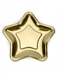 6 piattini in cartone stella oro metallizzato 18 cm
